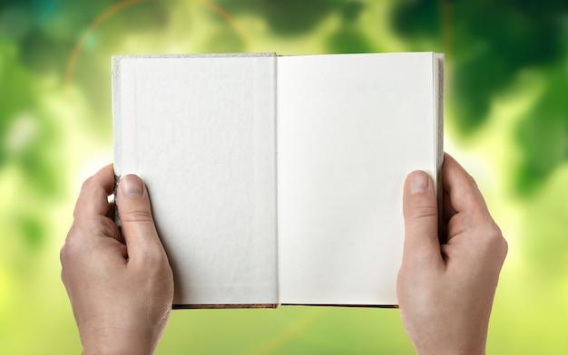 Открытая книга в руках человека