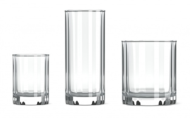 空のテーブルガラスセット