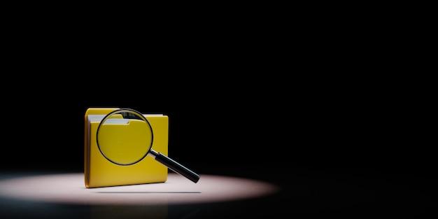 黒の背景にスポットライトを当てられた拡大鏡と黄色のドキュメントフォルダー