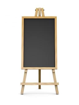 空の黒板を支える木製イーゼル