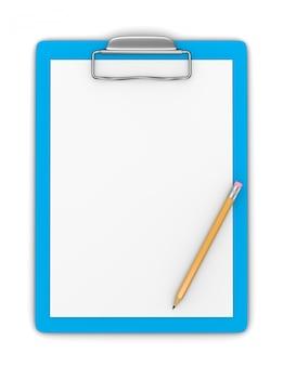 Буфер обмена с чистым листом бумаги и карандашом