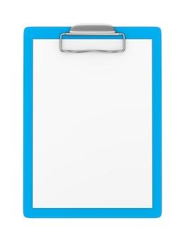 Синий буфер обмена с пустой бумагой изолированы