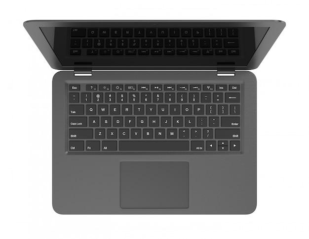 Черный ноутбук вид сверху, изолированные на белом