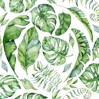 Тропические акварельные листья