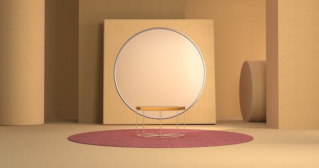 レッドカーペットにオレンジ色のプラットフォームを備えた幾何学的な背景