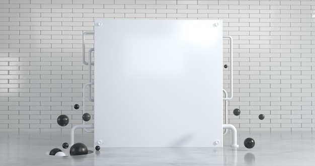 Белая квадратная стена с абстрактной геометрией на фоне белой кирпичной стены