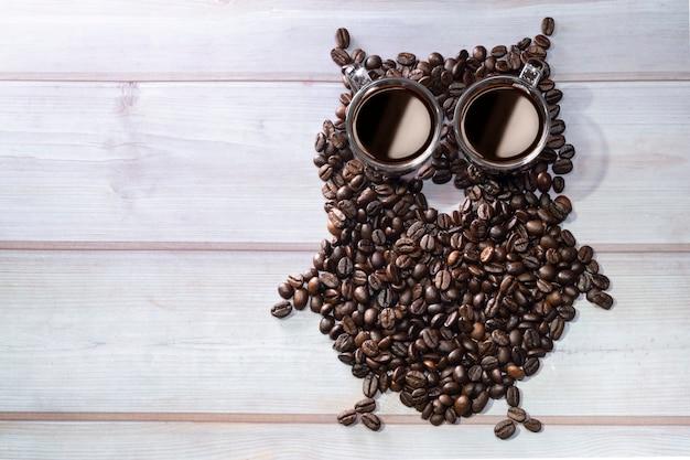 フクロウの形をしたコーヒー豆