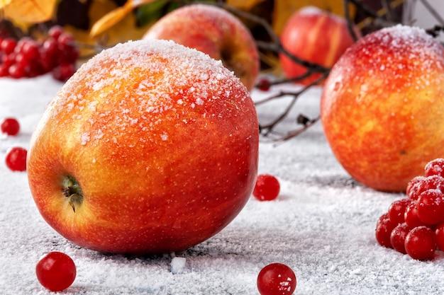 粉砂糖をまぶした縞模様のリンゴ。皿は雪の中でリンゴをシミュレートします
