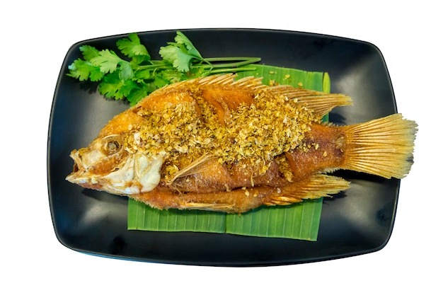 Жареная рубиновая рыба с чесноком