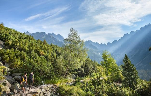 Туристы на горной тропе в высоких татрах