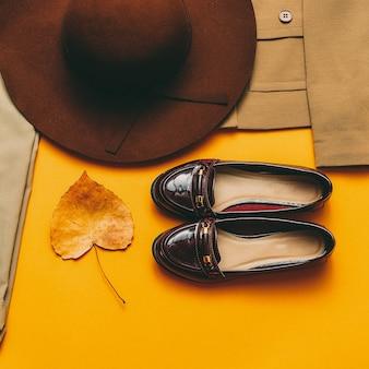 Винтажный наряд обувь шляпа. осенний стиль