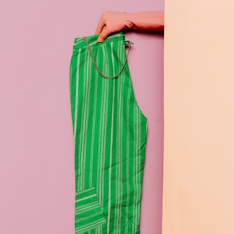 スタイリッシュな服。夏の緑のズボン。ストリッププリントトレンドワードローブのアイデア
