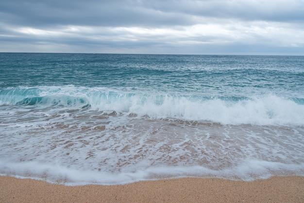 泡立つ海の波が砂浜に転がる