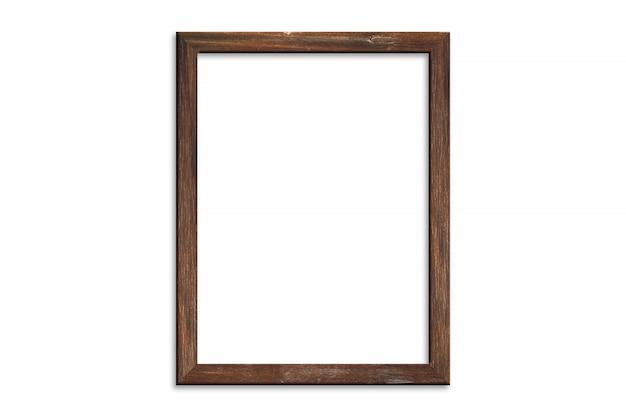 クリッピングパスと白い背景に分離された木製の写真フレーム。画像表示