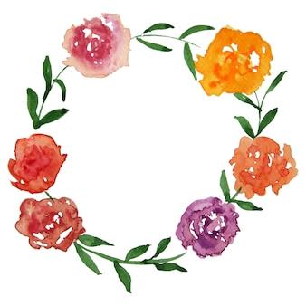 赤、オレンジ、ピンク、紫、オレンジの水彩画は、白のクリッピングパスと花輪をラウンドします。