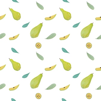 緑色の洋ナシのフルーツの水彩画