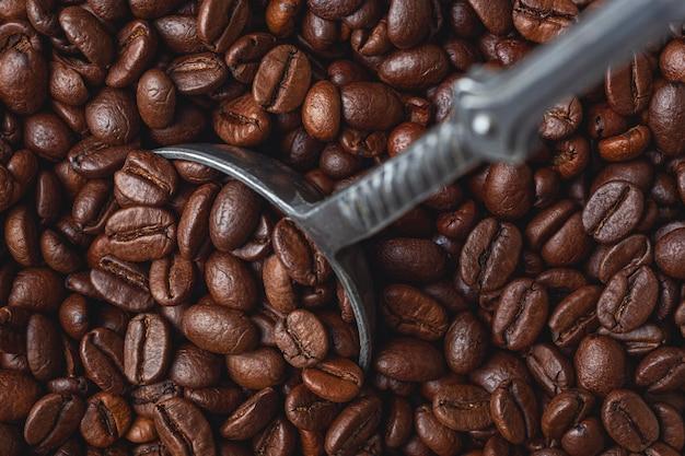 ローストコーヒー豆の背景。上面図