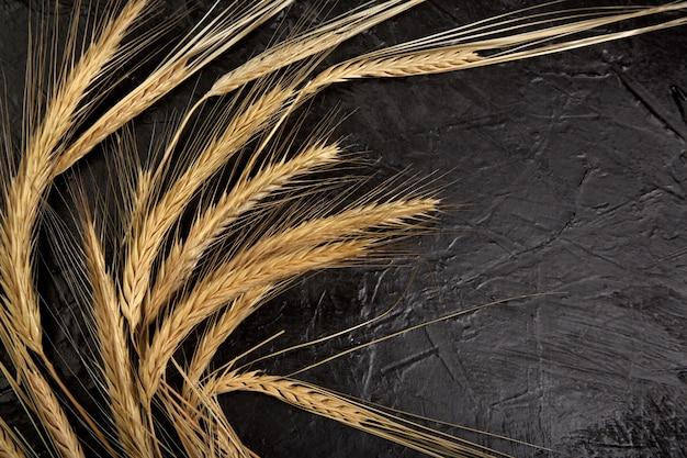黒い壁に小麦の穂