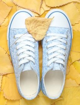 Синие хипстерские кроссовки на опавшие листья. осеннее время вид сверху.