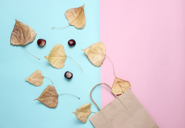 Бумажный пакет для покупок, опавшие осенние листья, каштаны на синий розовый стол. осенние покупки, продажа, вид сверху, минимализм
