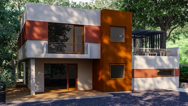 Роскошный дом с бассейном и террасой возле газона в современном дизайне