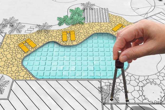 ホテルの造園家設計裏庭プール計画
