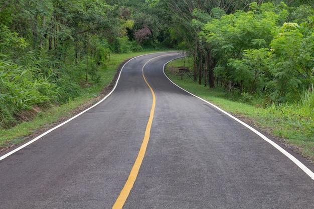 タイ北部の熱帯林を通るアスファルト道路の曲線道。