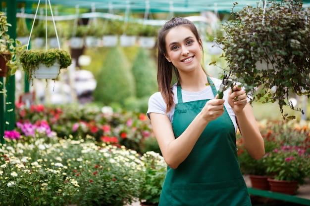 Молодая красивая флорист заботится о цветов.