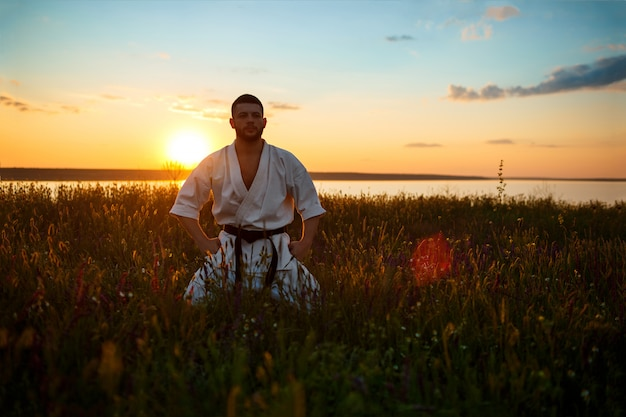 Силуэт спортивного человека обучения каратэ в поле на рассвете.
