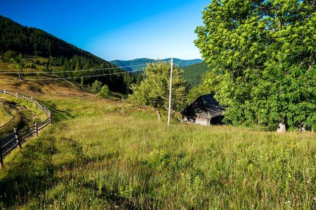 ウクライナのカルパティア山脈の村の美しい景色。
