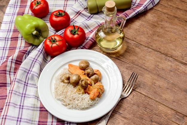 Рис с мясом и грибами в круглой тарелке