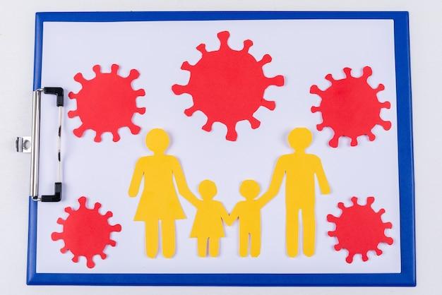 Семейная картина с вирусом вокруг