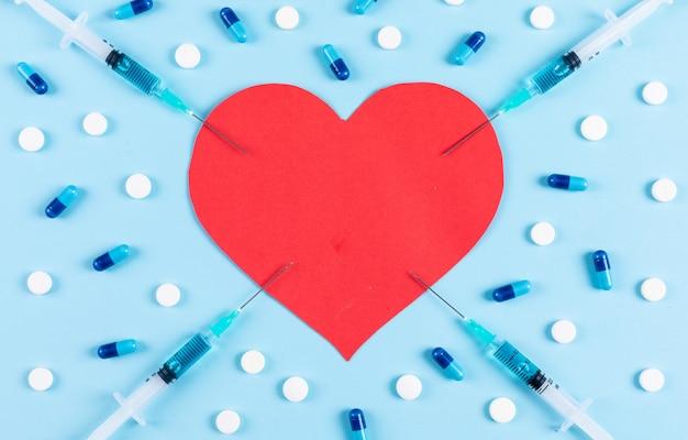 薬とそれの周りの針と明るいシアンの背景に心のセット。フラット横たわっていた。