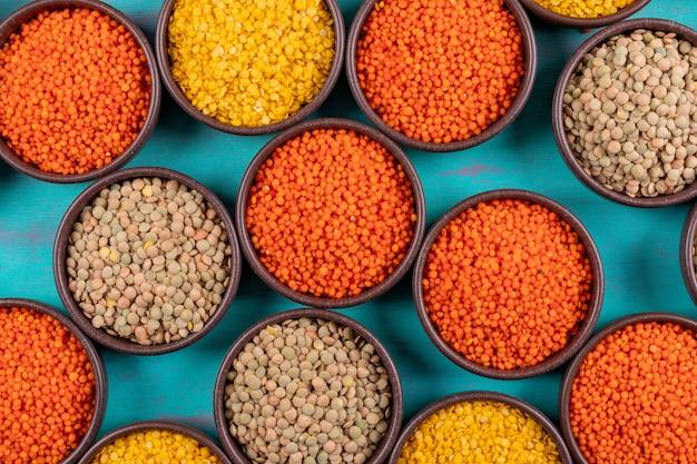 ボウル上面の異なるレンズ豆