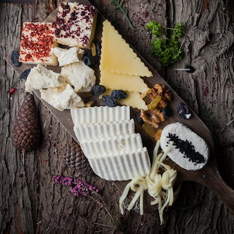 Вид сверху сыра нарезка различных видов сыра орехи изюм на деревянной коре