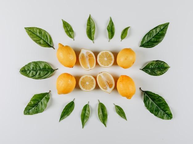 Набор ломтиков и листьев и лимонов в миску на белом фоне. вид сверху.