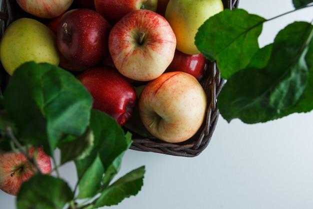 Плоские лежал яблоки в коробке с листьями на белом фоне. горизонтальное пространство для текста
