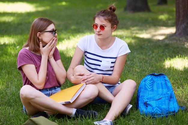 困惑したかわいい女性は親友と自由な時間を過ごし、突然のニュースに反応し、一緒に試験の準備をします