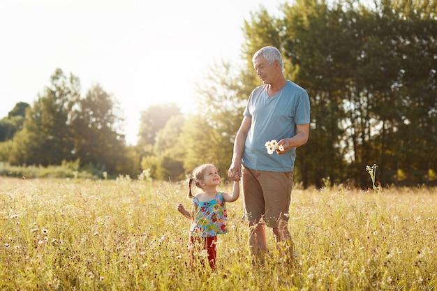 ハンサムな成熟した祖父の屋外の景色は彼の小さな孫娘の手を保ち、楽しい表情でお互いを見つめ、緑の草を散歩し、カモミールを拾います。人、ライフスタイルのコンセプト