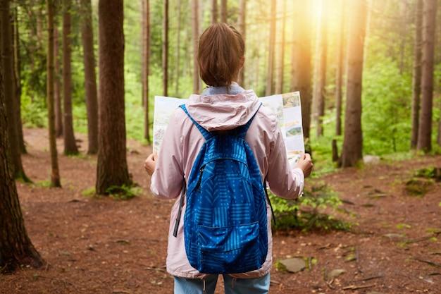 森に立っている手で地図を持つ美しい少女の背面します。彼女の道を見つけるためにバラのジャケットと青いバッグを着ている観光客