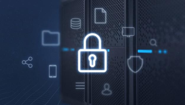 サーバーの前面にある南京錠のアイコン。オンラインサービスのアイコンに囲まれています。データ保護、セキュリティの概念。