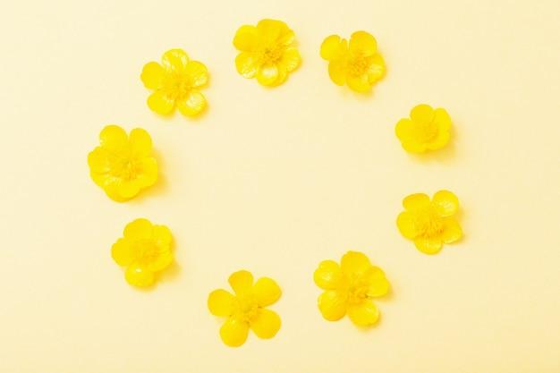 Желтые лютики на желтом фоне бумаги
