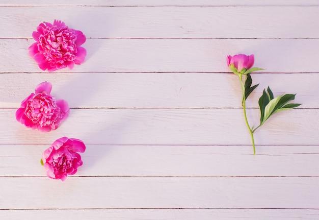 Розовые пионы на деревянном фоне