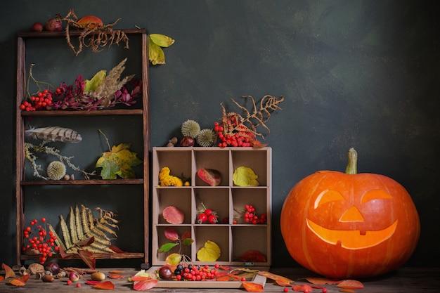 暗闇の中で秋の自然の装飾とハロウィーンのカボチャ