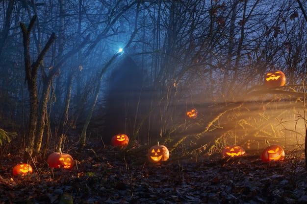 Призрак с тыквами в ночном лесу