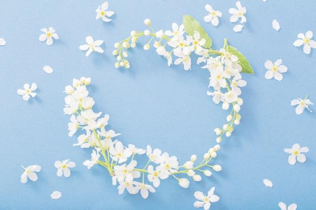 Цветы черемухи на бумажном фоне