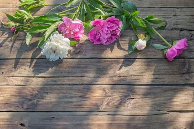 Красивые пионы на фоне старых темных деревянных в солнечном свете
