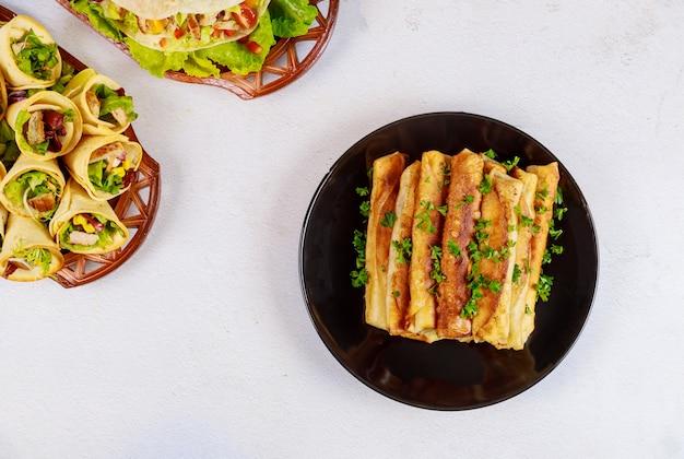 トルティーヤから作られたメキシコ料理