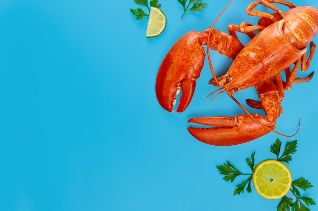 Приготовленный дикий лобстер с лимоном на синей поверхности