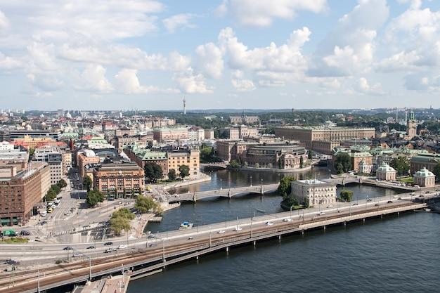 Историческая архитектура башня в стокгольме, швеция